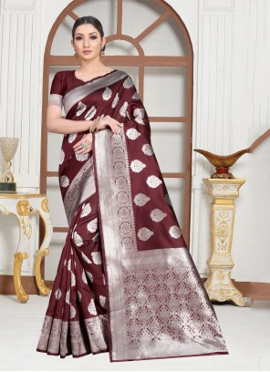 Brown Weaving Art Silk Contemporary Saree