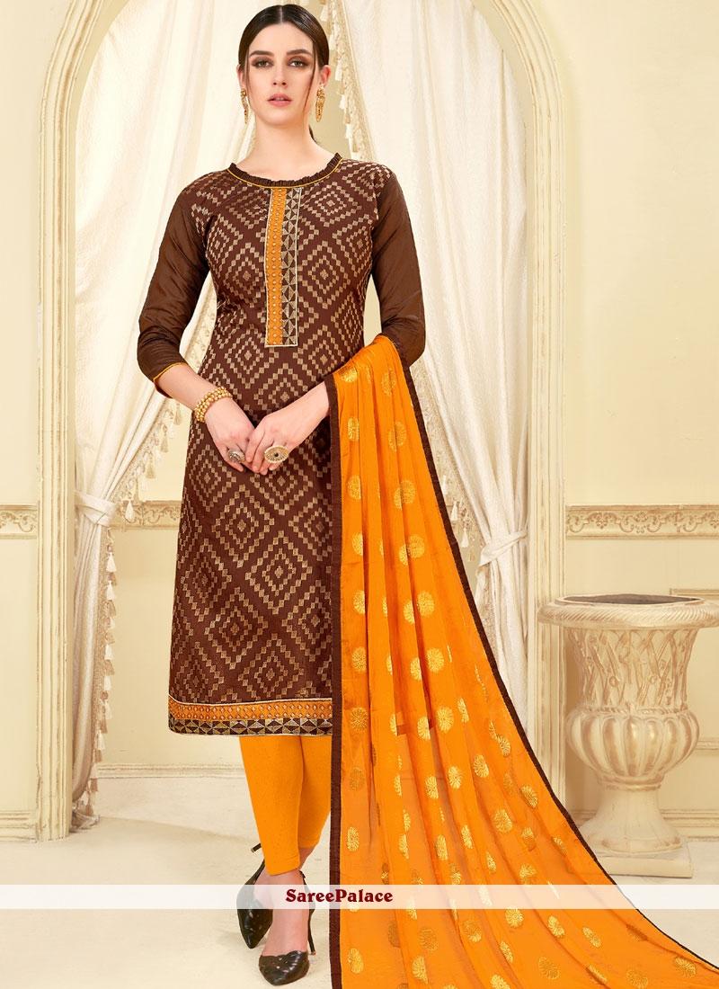 Brown Weaving Casual Churidar Suit