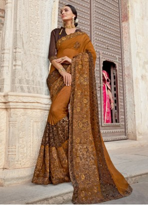 Brown Weaving Silk Designer Saree