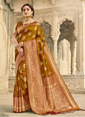 Brown Woven Banarasi Silk Classic Designer Saree