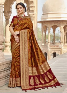 Brown Woven Classic Designer Saree