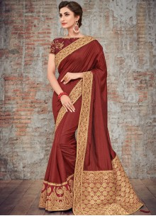 Brown Woven Party Designer Traditional Saree