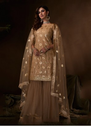 Brown Zari Net Designer Salwar Kameez