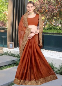 Brown Zari Wedding Designer Contemporary Saree