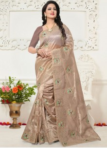 Brown Zari Work Saree