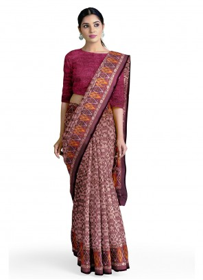 Burgundy Faux Georgette Abstract Printed Saree