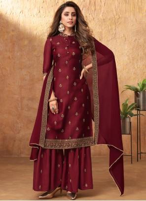 Burgundy Embroidered Silk Designer Pakistani Suit