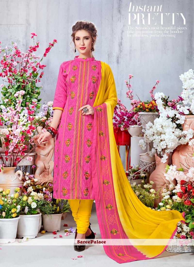 Butta Work Georgette Pink Churidar Salwar Kameez