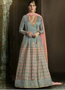 Capricious Art Silk Grey Embroidered Work Floor Length Designer Salwar Suit