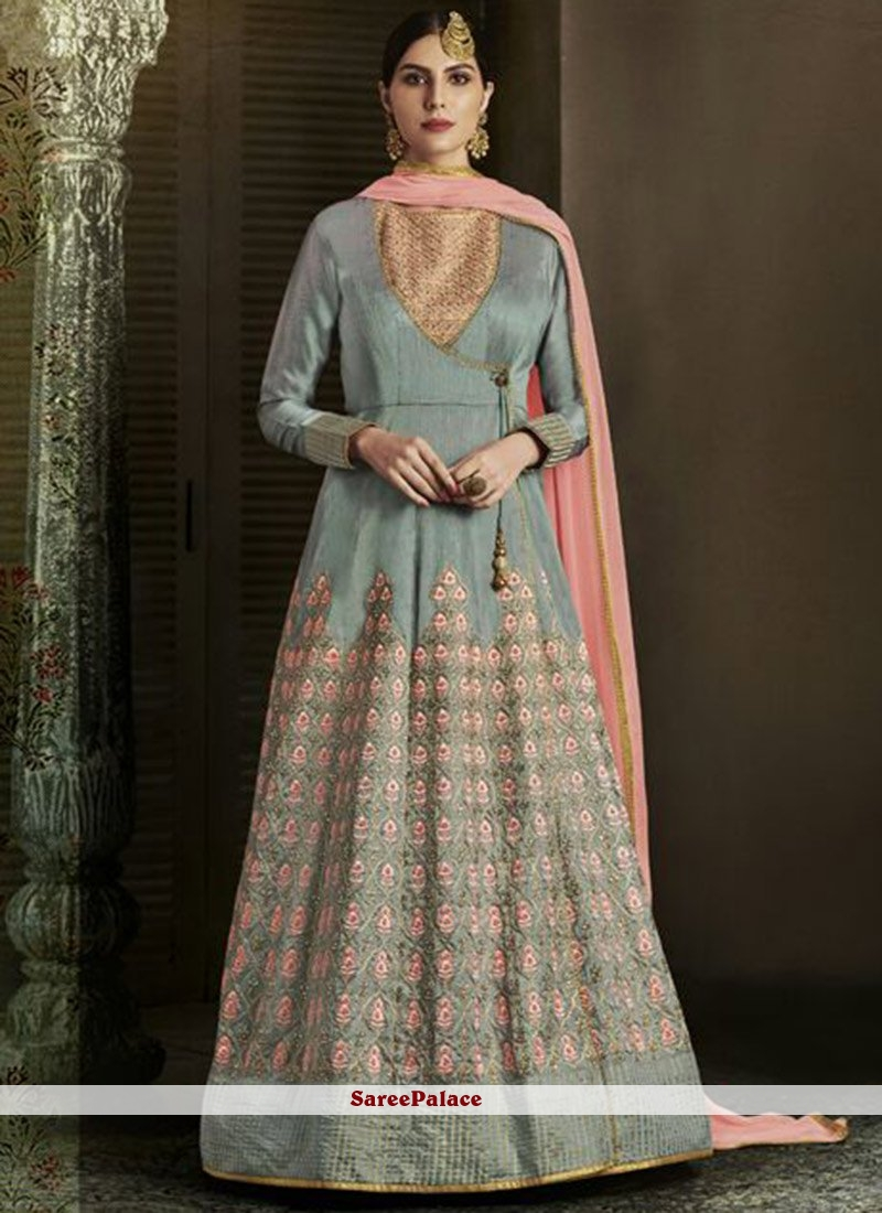 Capricious Art Silk Grey Embroidered Work Floor Length Designer Salwar Suit