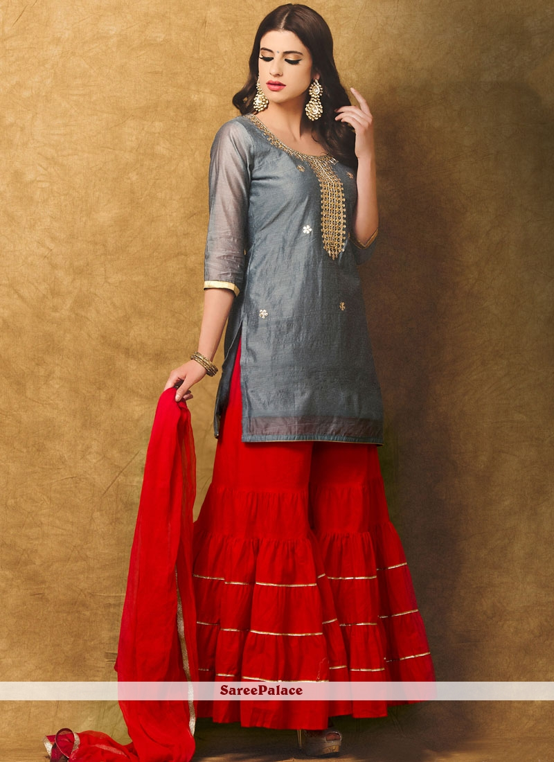 a964969949 Buy Capricious Chanderi Grey and Red Designer Suit Online