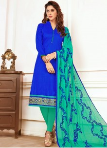 Capricious Cotton   Blue Embroidered Work Churidar Suit