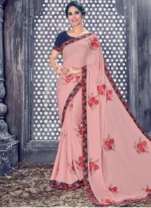 Captivating Lace Work Pink Designer Saree