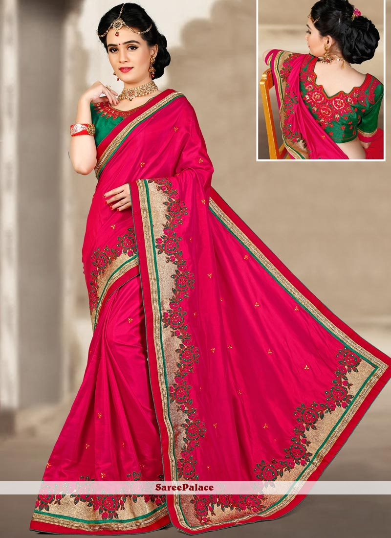 Captivating Magenta Embroidered Work Art Silk Traditional  Saree