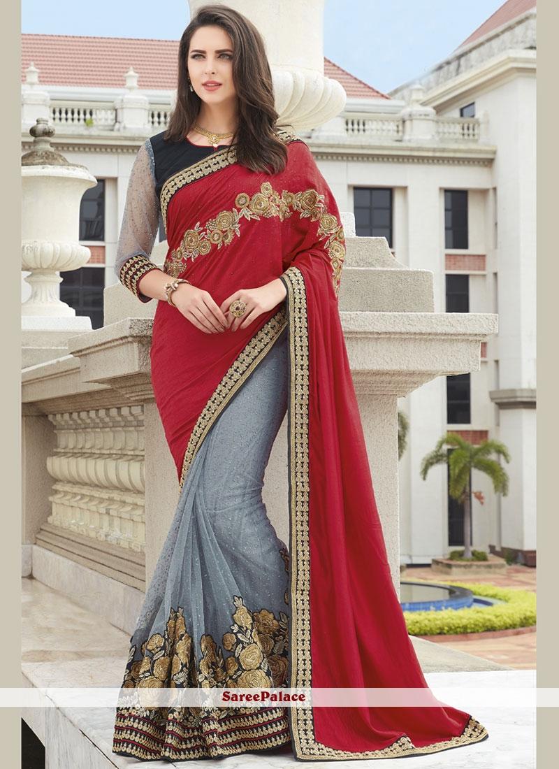 Captivating Raw Silk Grey and Navy Blue Patch Border Work Designer Half N Half Saree