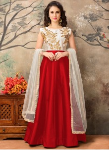 Captivating Resham Work Tafeta silk Floor Length Anarkali Suit