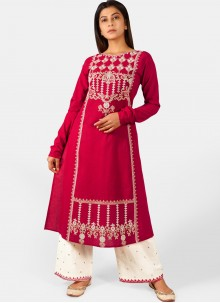Casual Kurti Embroidered Cotton in Pink