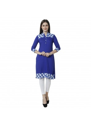 Casual Kurti Embroidered Rayon in Blue