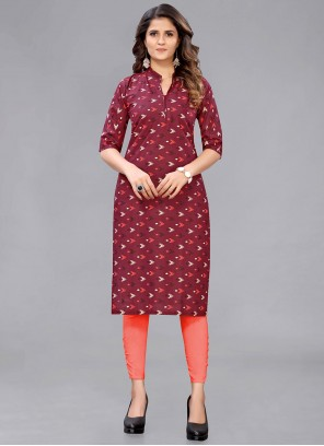 Maroon Cotton Printed Kurti For Casual