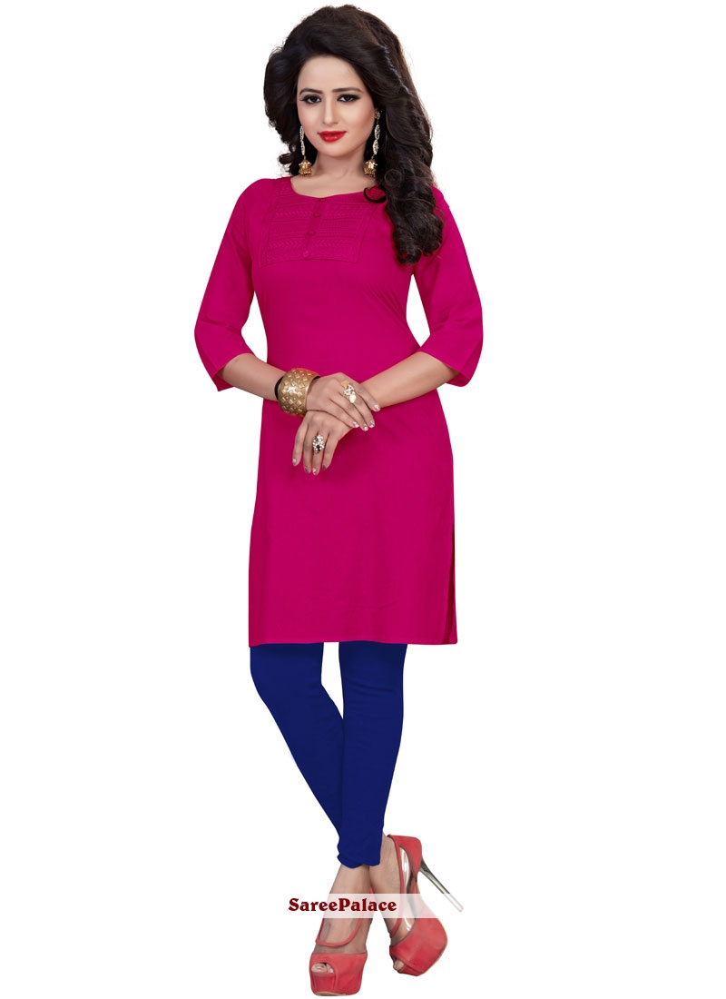 Hot Pink Casual Kurti For Casual