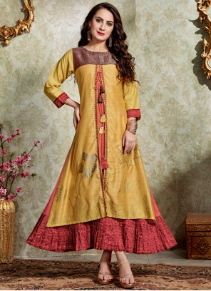 Yellow Casual Kurti For Festival