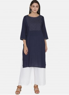 Navy Blue Casual Kurti For Festival