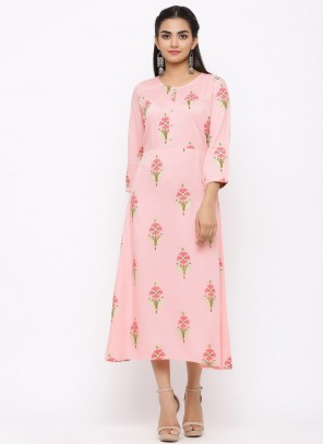 Pink Casual Kurti For Party