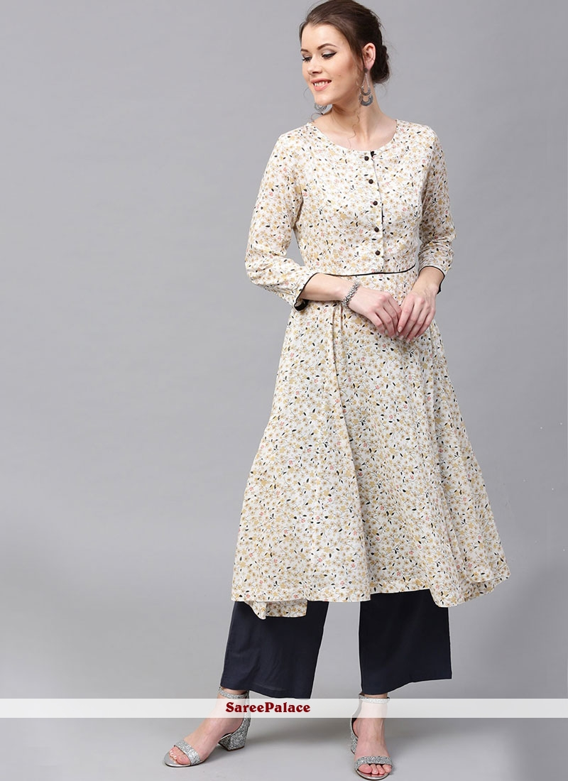 White Casual Kurti For Party