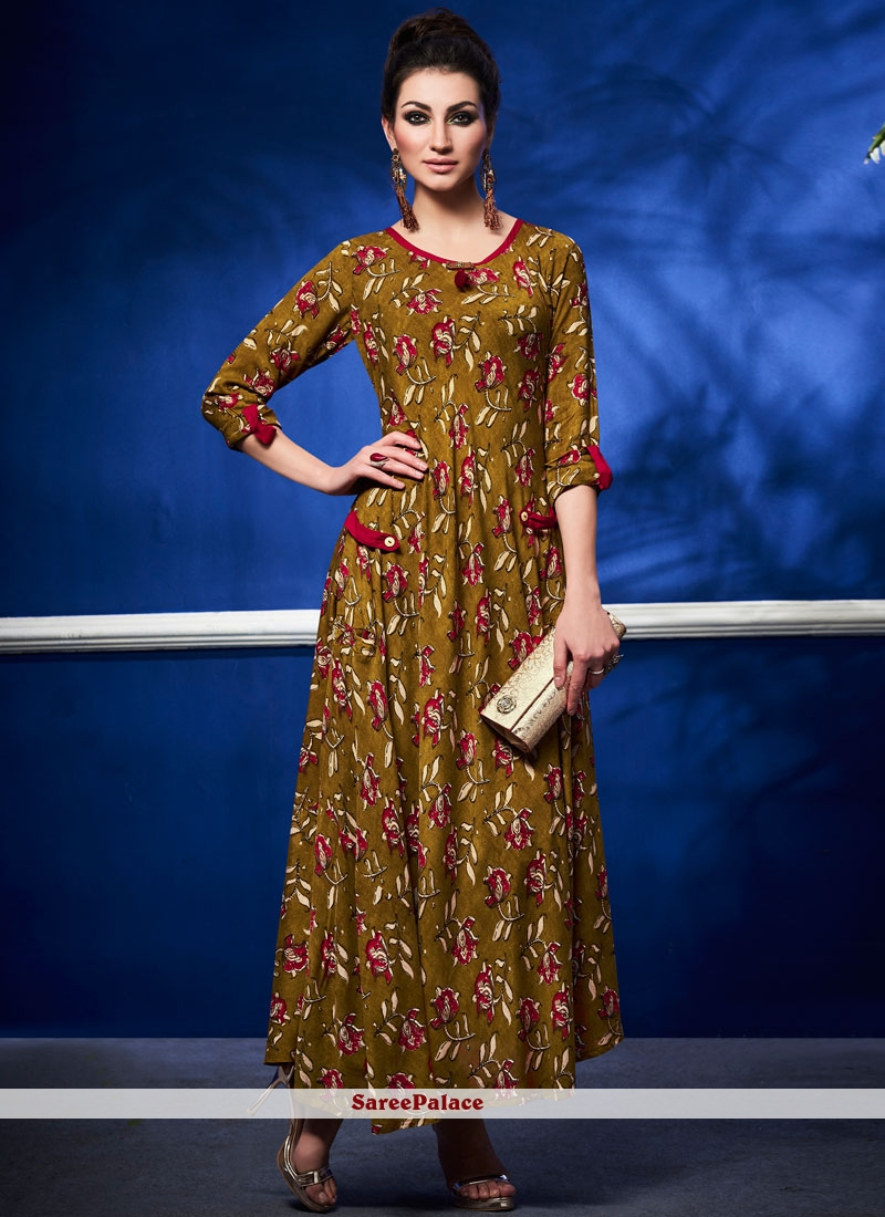 Mustard Casual Kurti For Party