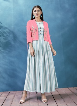 Casual Kurti Print Rayon in Aqua Blue