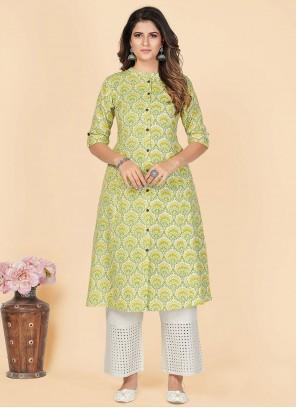 Casual Kurti Printed Cotton in Green