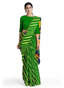 Casual Saree Abstract Print Faux Georgette in Green