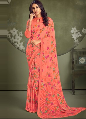 Casual Saree Abstract Print Faux Georgette in Peach