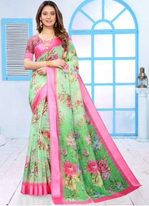 Casual Saree Abstract Print Linen in Green