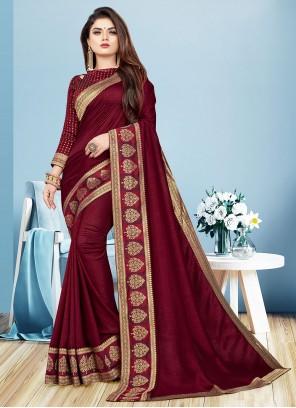 Casual Saree Border Silk in Maroon