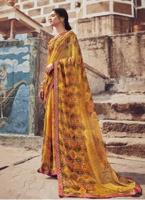Casual Saree Floral Print Faux Georgette in Multi Colour