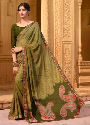 Green Saree For Casual