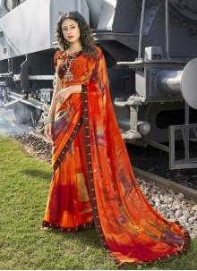 Multi Colour Saree For Casual