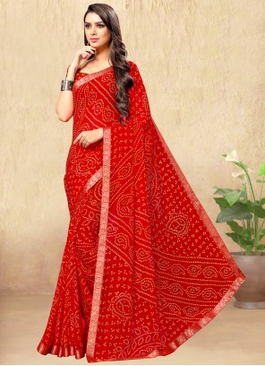 Red Faux Chiffon Saree For Casual