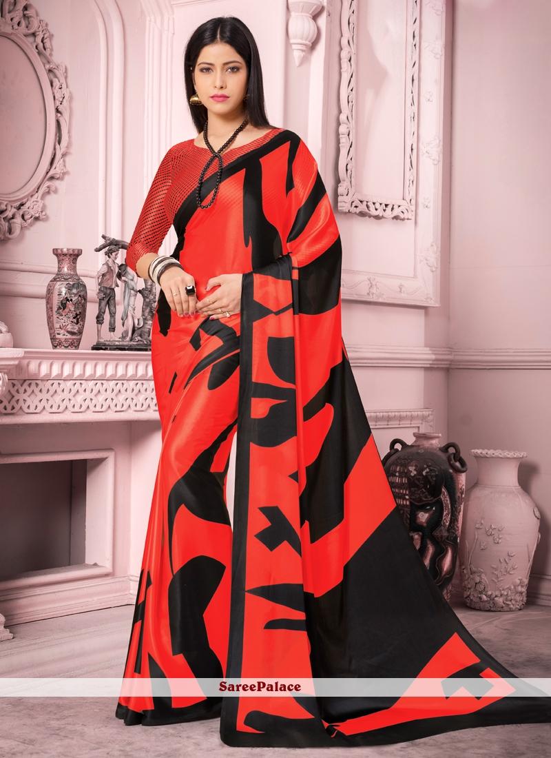 Red Satin Silk Saree For Casual