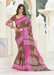 Brown Printed Casual Saree For Festival