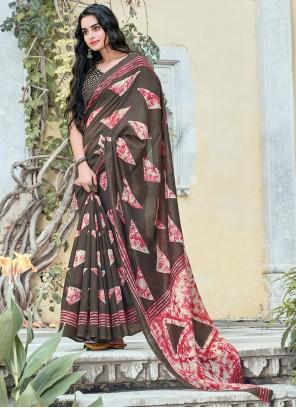 Grey Printed Casual Saree For Mehndi