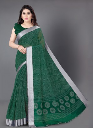 Green Casual Saree For Party