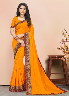 Casual Yellow Saree For Party