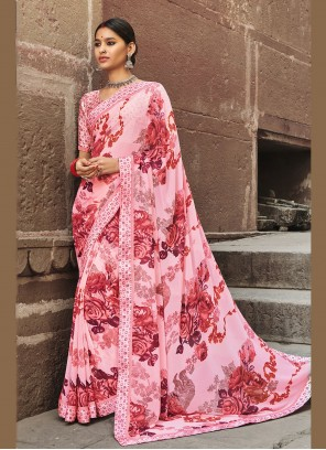 Multi Colour Abstract Print Casual Saree For Party