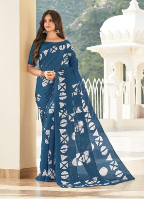 Blue Casual Saree For Party
