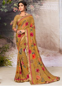 Casual Saree Lace Faux Georgette in Brown