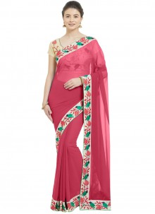 Casual Saree Patch Border Faux Chiffon in Hot Pink