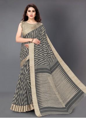 Casual Saree Printed Cotton in Grey
