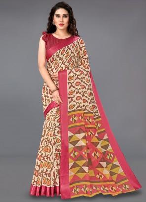 Casual Saree Printed Cotton in Multi Colour